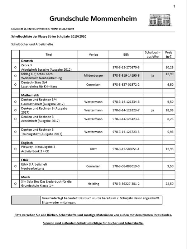Schulbuchlisten Klasse 3 2019/2020